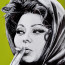 Dean Waite - Sold: 'At the Savoy', a portrait of Sofia Loren (Black biro and spray paint on paper)