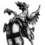 Dean Waite - Sold: 'The London Dragon', an illustration of the statue of the London coat of arms upon entering the City of London (Black biro on paper)