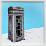 Dean Waite - Sold: 'It's good to talk', an illustration of London telephone box (Black biro and spray paint on paper)
