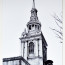 Dean Waite - Sold: 'Within the sound of Bow Bells...', an illustration of St. Mary-Le-Bow Church, London (Black biro on paper)