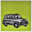 Dean Waite - Sold: 'Yes Guv'nor?', an illustration of a London black cab (Black biro and spray paint on paper)